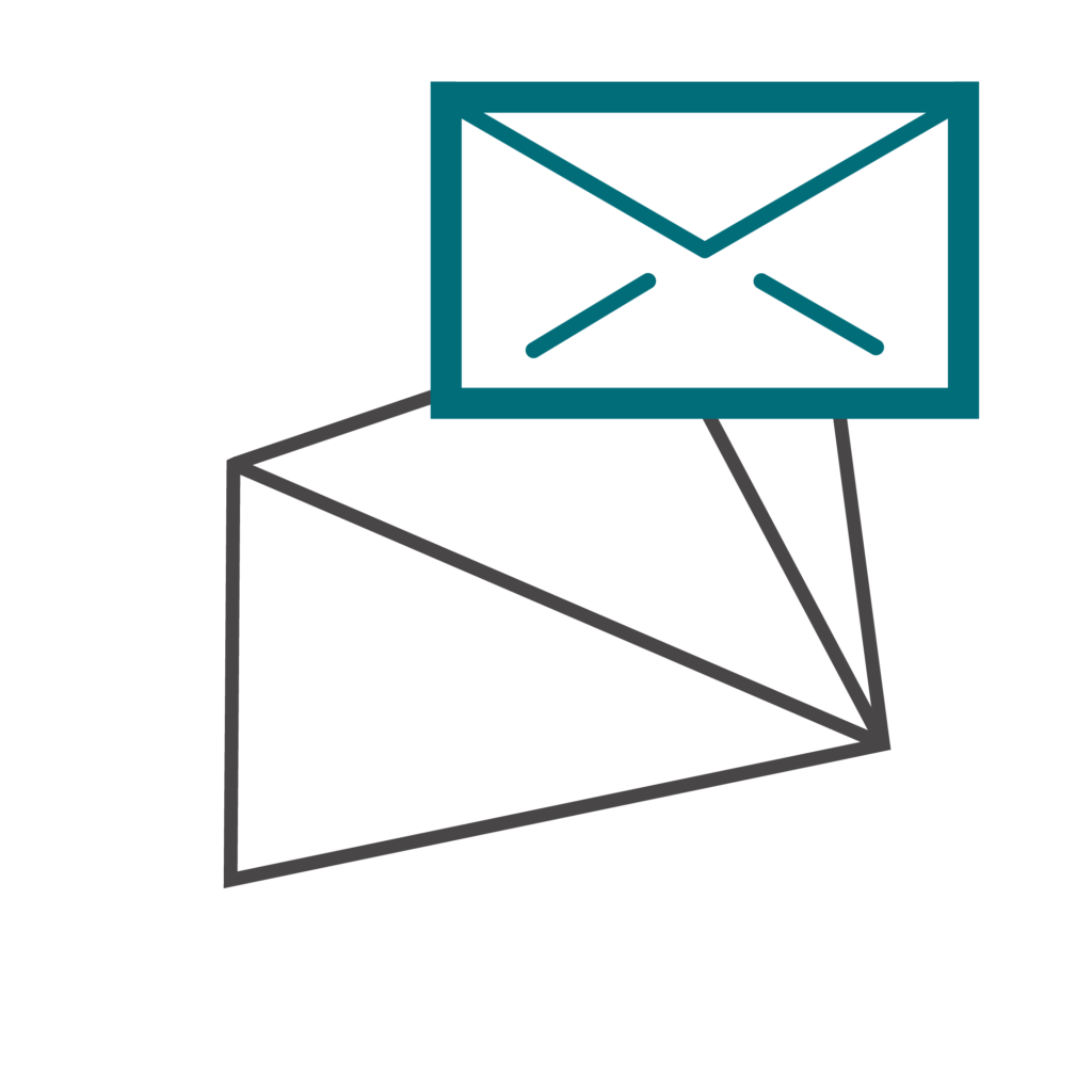 email marketing icon with location pin and globe in nowhere consultants colors