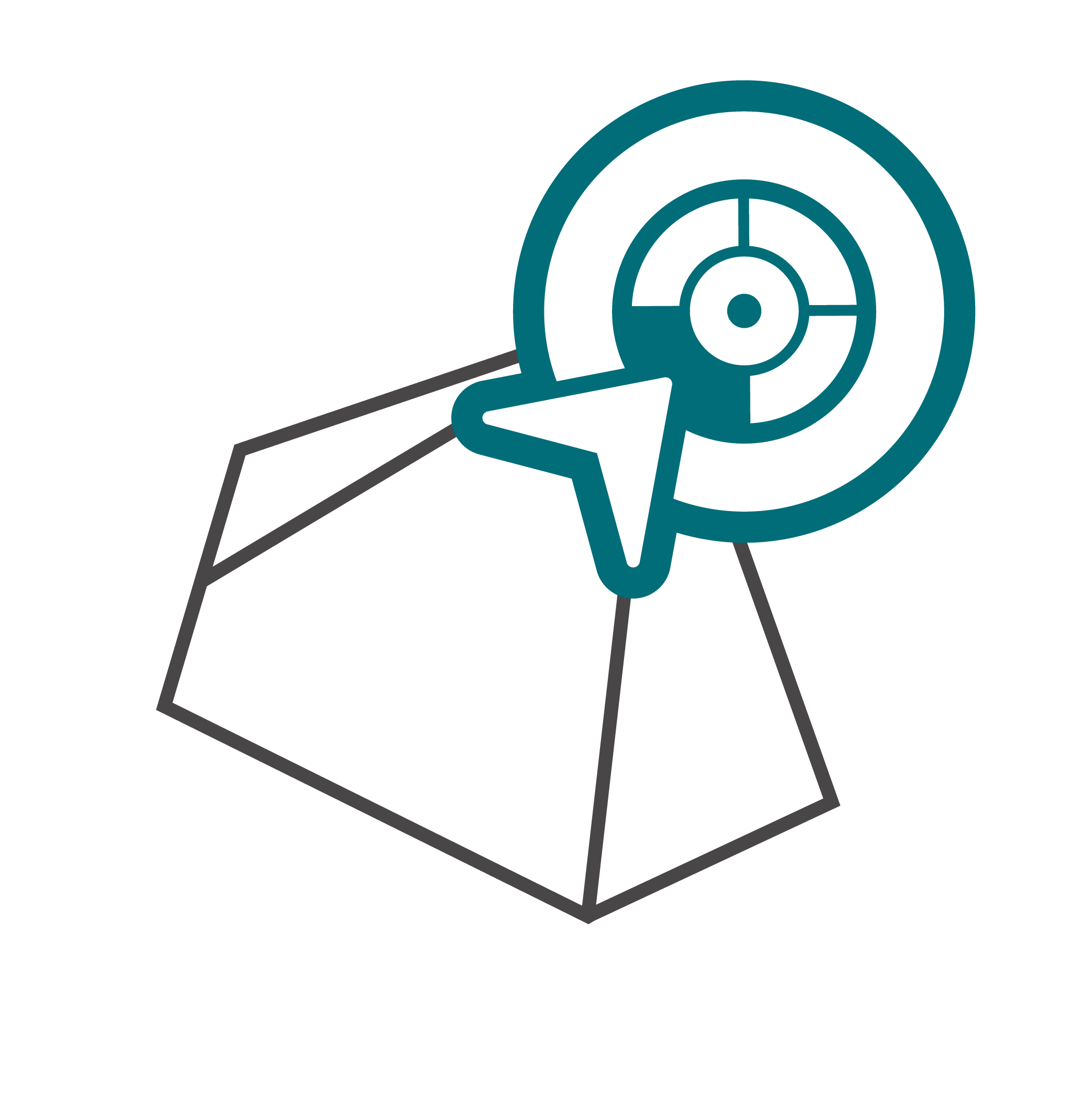 seo strategy icon with location pin and globe in nowhere consultants colors